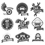 Vector set of auto service labels in vintage style. Car repair shop banners. Mechanic tools isolated on white background Stock Photo