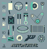 Vector Set: Automotive Parts Icons and Symbols Stock Image