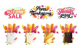 Vector set autumn fallen leaves in gift shopping bags gold, white, black. Thanksgiving lettering set, text autumn sale. vector illustration