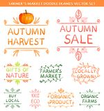 VECTOR set of autumn farm label design with drawing elements stock illustration