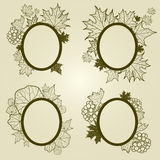 Vector set of autumn leafs frames Royalty Free Stock Images