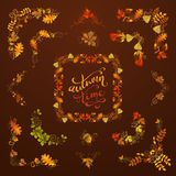Vector set of autumn leaves design elements. Flourishes, swirls, corners, frames, page decorations and dividers on dark brown background. Oak, rowan, maple vector illustration