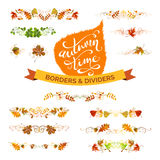 Vector set of autumn leaves design elements. Royalty Free Stock Image