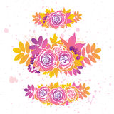 Vector set with autumn leaves and roses on white background. Set with autumn leaves and roses on white background. Vector collection Royalty Free Stock Photos