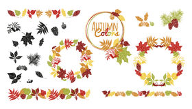 Vector set of autumn leaves round frames Stock Photo
