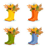 Vector set with autumn leaves in rubber boots. Royalty Free Stock Photography