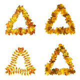 Vector set of autumn leaves triangle frames Royalty Free Stock Photography