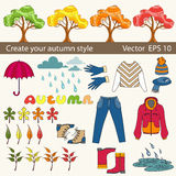 Vector set of autumn symbols for use in design Stock Photo