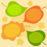 Vector set of autumn text frames in the form of leaves. Stock Image