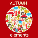 Vector set of autumn themed objects Stock Images