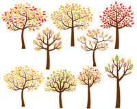 Vector set of autumn tree silhouettes Royalty Free Stock Photo