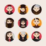 Vector set with avatars of gothic man in hats, with dark hair and colored eyes lens in circle shapes. Different young men isolated. On bright background stock illustration