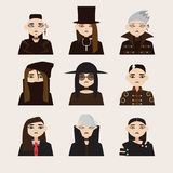 Vector set with avatars of gothic man in hats, with dark hair and colored eyes lens. Different young men isolated on background. Vector set with avatars of Royalty Free Stock Image