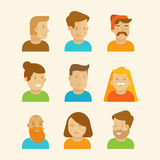 Vector set of avatars and portraits in flat style Royalty Free Stock Photos