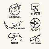 Vector set. Aviation logs, emblems template, air travel. Line art. Vector set. Aviation logs, emblems template, air travel Line art Stock Photos
