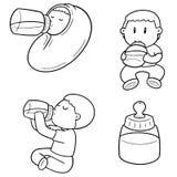 Vector set of baby bottle. Hand drawn cartoon, doodle illustration vector illustration