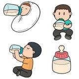 Vector set of baby bottle. Hand drawn cartoon, doodle illustration royalty free illustration
