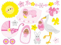 Vector Set of Cute African American Baby Girl and Elements Royalty Free Stock Image