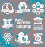 Vector Set: Baby Shower Invitation Labels And Icon Royalty Free Stock Photography