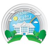 Vector set of Back to School banners in origami paper art style. School poster with building, school bus, nature Royalty Free Stock Images