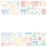 Vector set of Back to School icons in doodle style. Painted, colorful, pictures on a piece of paper on white background. stock illustration