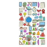 Vector set of Back to School icons in doodle style. Painted, colorful, pictures on a piece of paper on white background. royalty free illustration