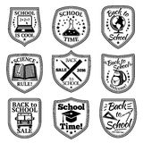 Vector set of Back to school labels. With bus, backpack, book, laptop, rulers etc. Stock Image