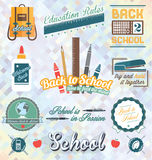 Vector Set: Back to School Labels and Icons Stock Image
