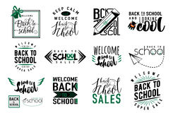 Vector Set of back to school, sale retro style elements. Royalty Free Stock Photo