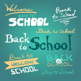 Vector set of back to school sketch style elements vector illustration
