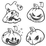 Vector set of Back And White Scaring Halloween Pumpkins. Cartoon Illustration isolated. Stock Image