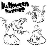 Vector set of Back And White Scaring Halloween Pumpkins outlines. Cartoon Illustration isolated. Royalty Free Stock Images
