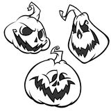 Vector set of Back And White Scaring Halloween Pumpkins with various expressions.   Stock Images