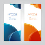 Vector set background Abstract header blue Orange wave whit vector d Stock Image