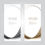 Vector set background Abstract header gray brown wave whit vector design on gray background Stock Images