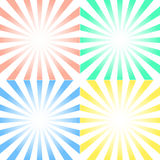 Vector set of backgrounds with centered symmetrical rays Stock Photos