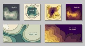 Vector set of 6 backgrounds with colorful paper cut shapes. 3D abstract paper art style, design layout for business presentations stock illustration