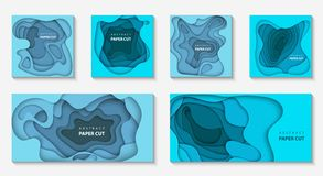Vector set of 6 backgrounds with deep blue color paper cut shape royalty free illustration