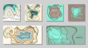 Vector set of 6 backgrounds with dradient colors paper cut shape vector illustration