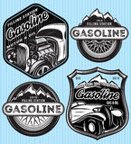 Vector set of badges for advertising gasoline. Vector stylish set of badges for advertising gasoline stock illustration