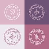 Vector set of badges and emblems in trendy linear style Royalty Free Stock Photos