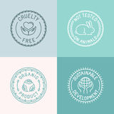 Vector set of badges and emblems in trendy linear style  Royalty Free Stock Photography