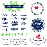Vector set of badges, floral elements, wreaths and laurels Stock Photo