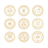 Vector set of badges and labels for natural and organic cosmetic Royalty Free Stock Images