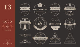 Vector set of badges Photography and Videography Royalty Free Stock Photos