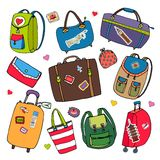 Vector set of bags, backpacks and suitcases. Royalty Free Stock Image