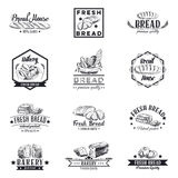 Vector set of bakery and bread logos, labels Stock Photos