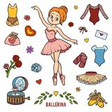 Vector set with ballerina and dancing objects. Cartoon colorful items Royalty Free Stock Image