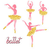 Vector set of of ballerinas in watercolor pink and glittering gold colors. Royalty Free Stock Image