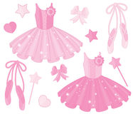 Vector Set with Ballet Shoes and Tutu Dresses Royalty Free Stock Photography